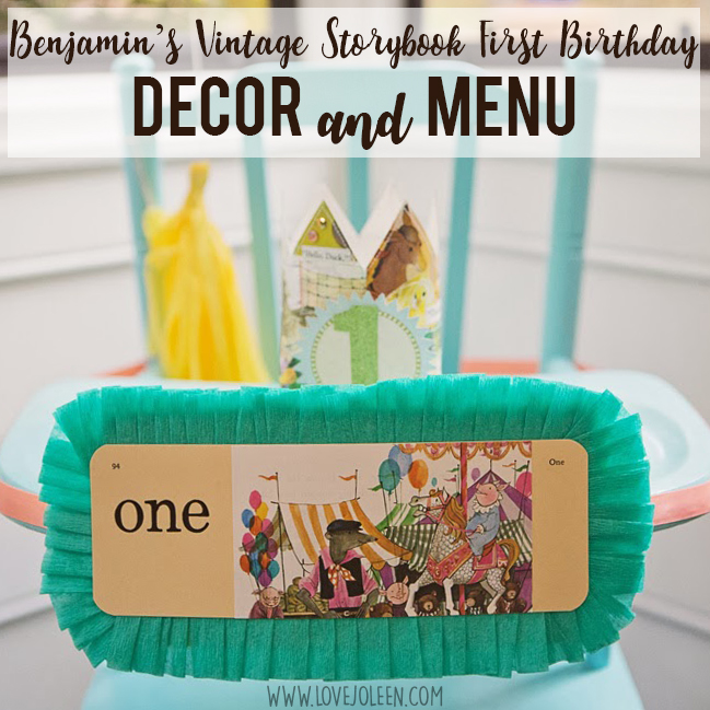 Benjamin's Vintage Storybook First Birthday Party Details: Decor and Menu