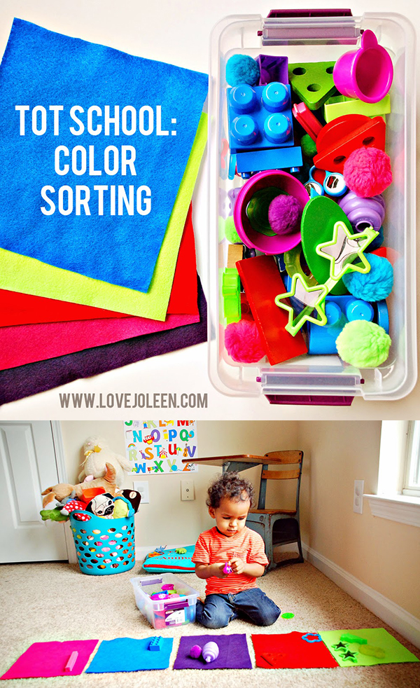 Tot School: Color Sorting Toddler Activity