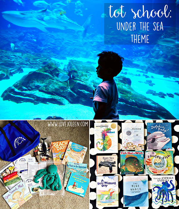 A collage of 3 photos. The top one is a boy looking into the tank at Georgia Aquarium. The bottom left is a photo of a under-the-sea themed library bag with books and a puppet. The bottom right photo is of 9 sealife children's books.