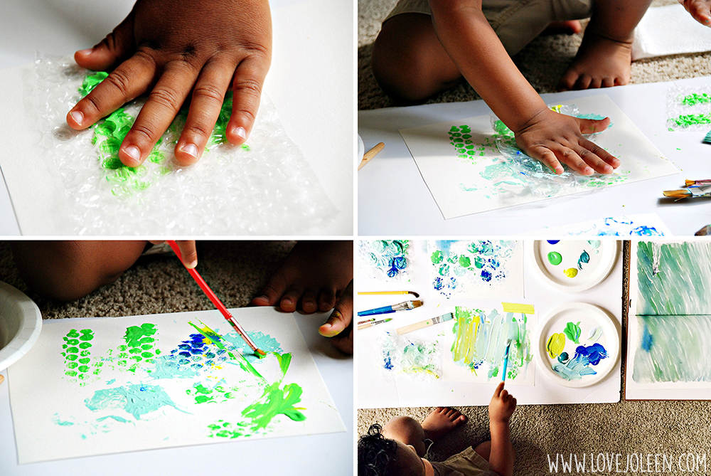 This is a collage of four photos showing a toddler creating a mixed media blue and green painting.