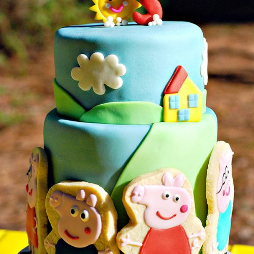 Peppa the Pig 3rd Birthday Party Cake with Custom Cookies