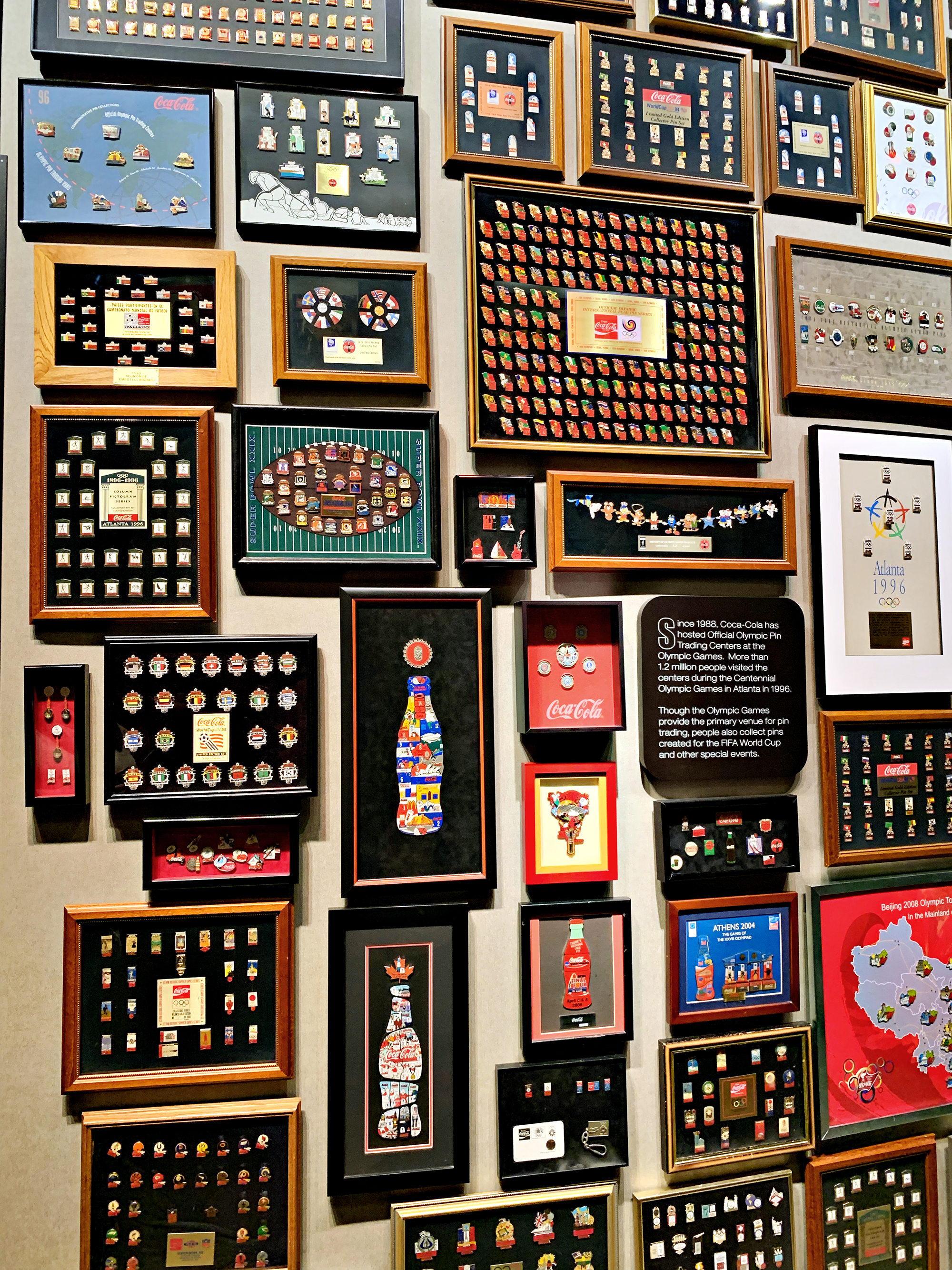 Just a few of the VAST collection of collectible Coca-Cola Olympic pins in the museum section of World of Coca-Cola