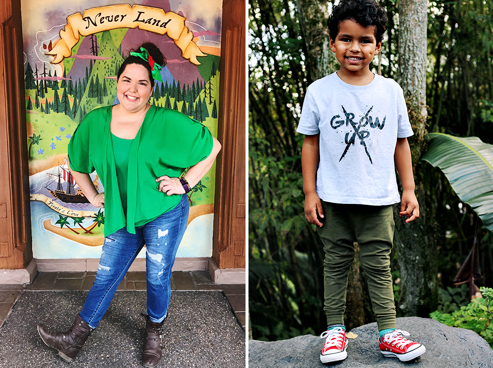 Two side by side Disneybounding images. On the left is a woman dressed in an outfit inspired by Peter Pan and on the right is her son in a different Peter Pan inspired look. His shirt says Grow Up and it's crossed out.