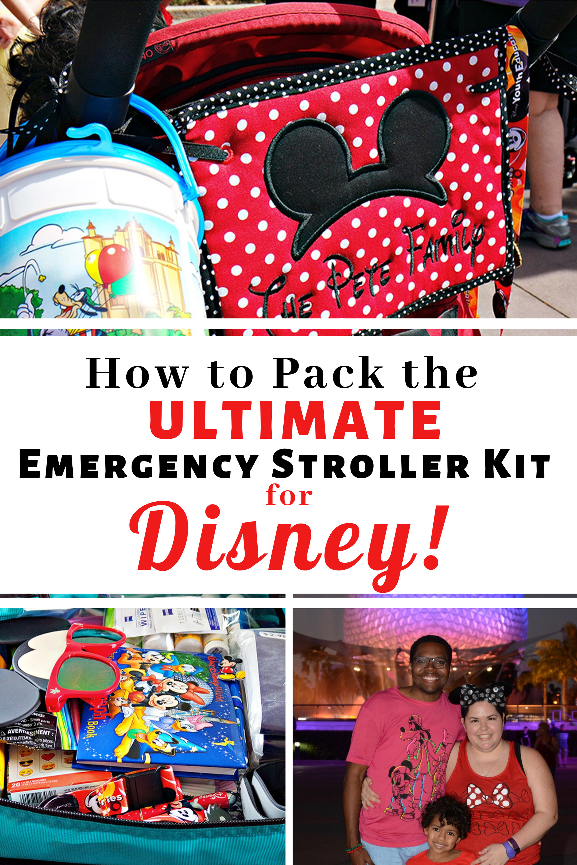 How to Pack the Ultimate Emergency Stroller Kit for Disney pin for Pinterest.