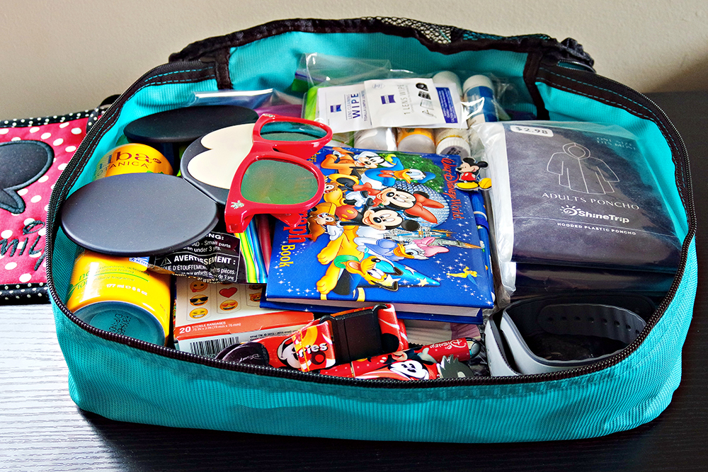 The ultimate emergency bag for Disney to store under your stroller. It's a packing cube bag, filled with ponchos, medicine, sunglasses, an autograph book and pens, technology wipes, bandaids, Disney pins and lanyard, extra magic bands, and more.