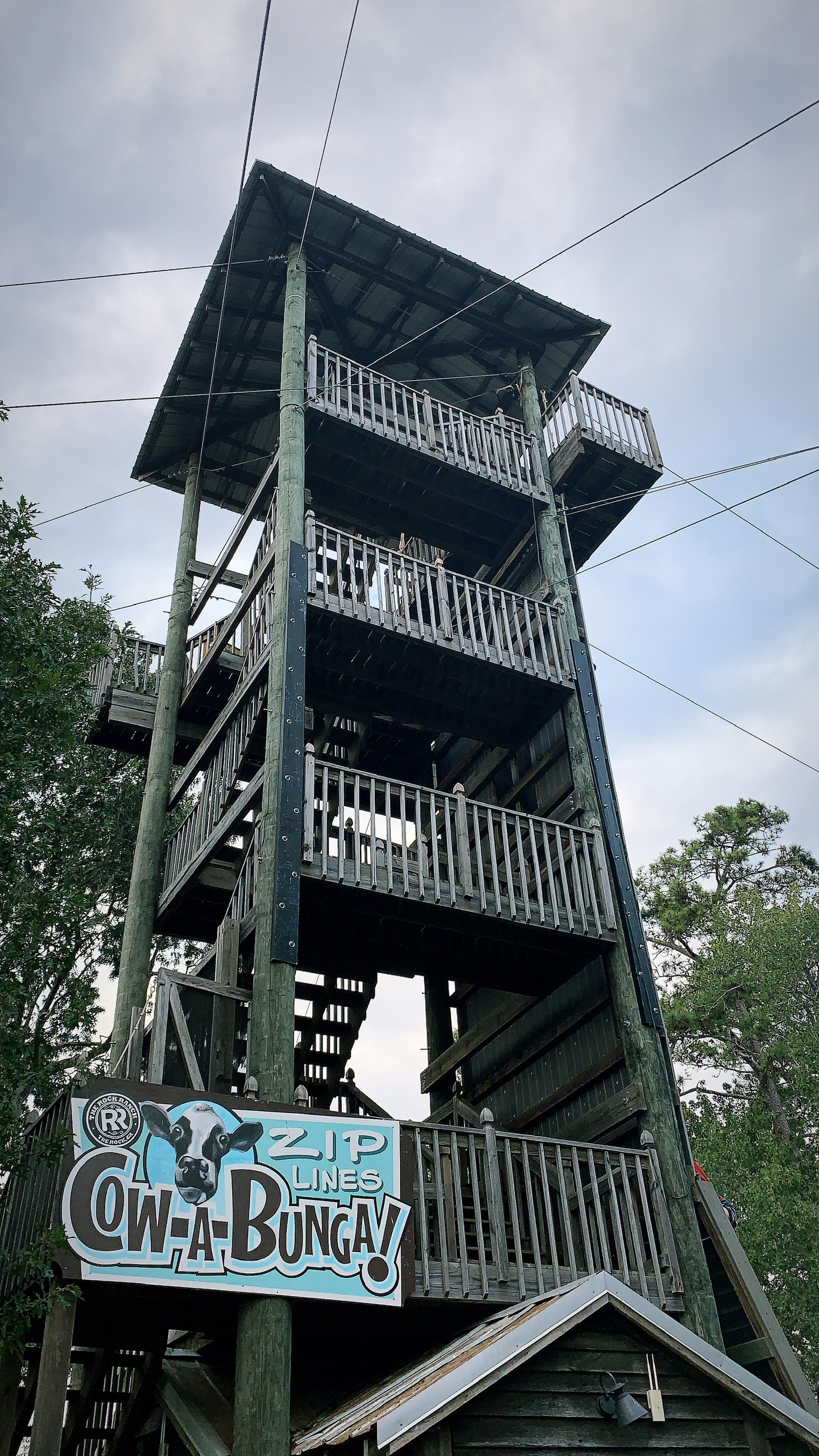 Cow-a-Bunga! Zip Lines tower at The Rock Ranch.