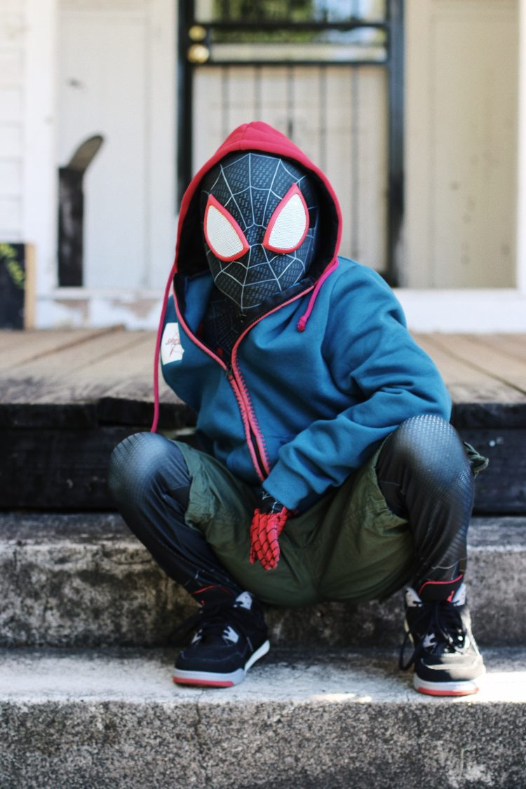 Boy dressed as Miles Morales from Into the SpiderVerse