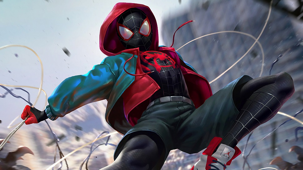 Close-up press image of Miles Morales from Spider-Man: Into the Spider-Verse.