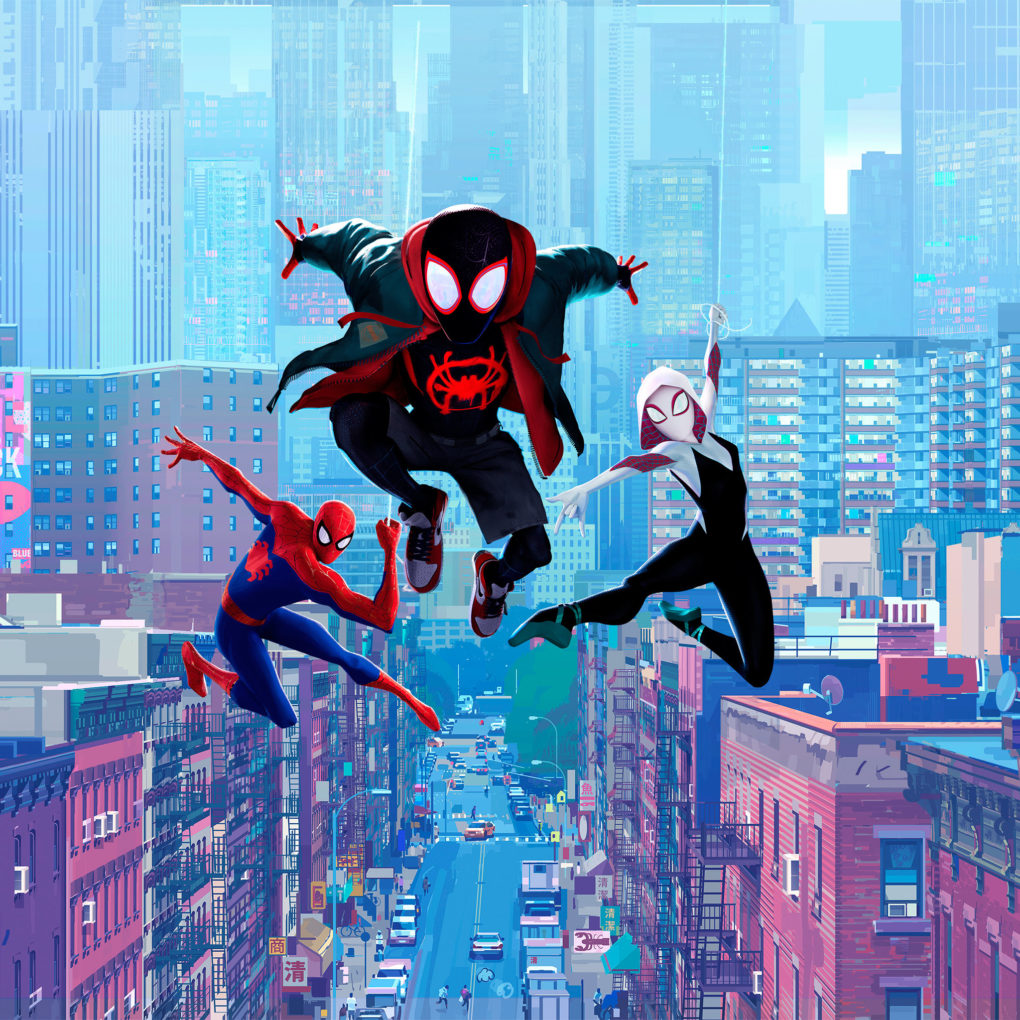 Press Image of Miles Morales and two other Spider-Mans from Into the Spider-Verse.
