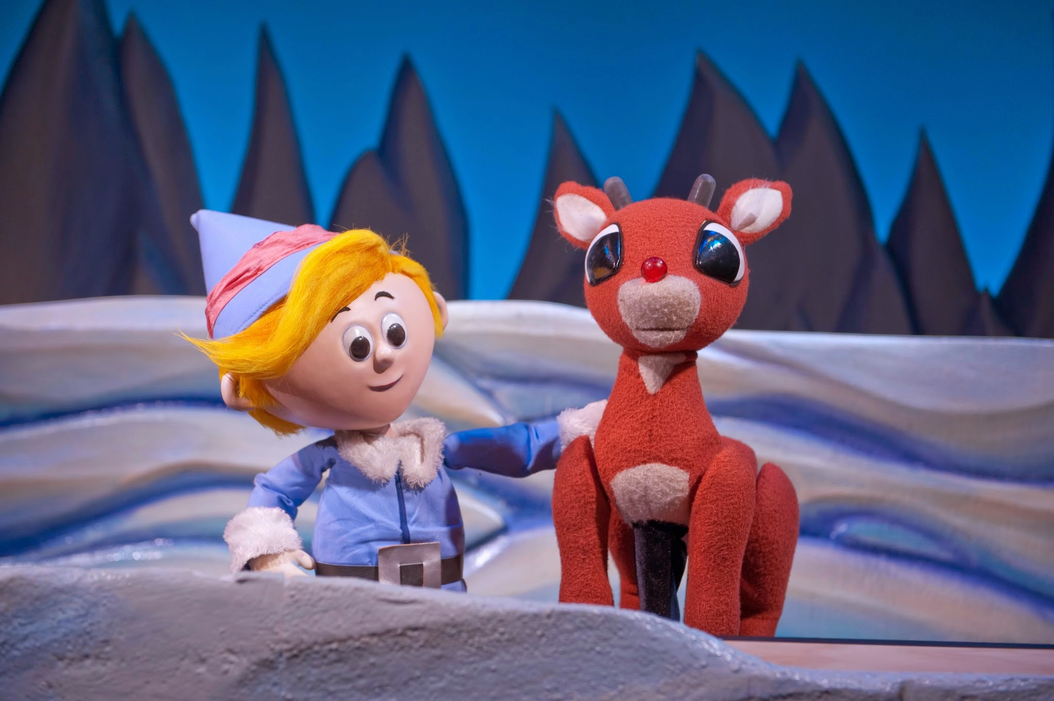 Scene from Rudolph the Red-Nosed Reindeer at the Center for Puppetry Arts in Atlanta.