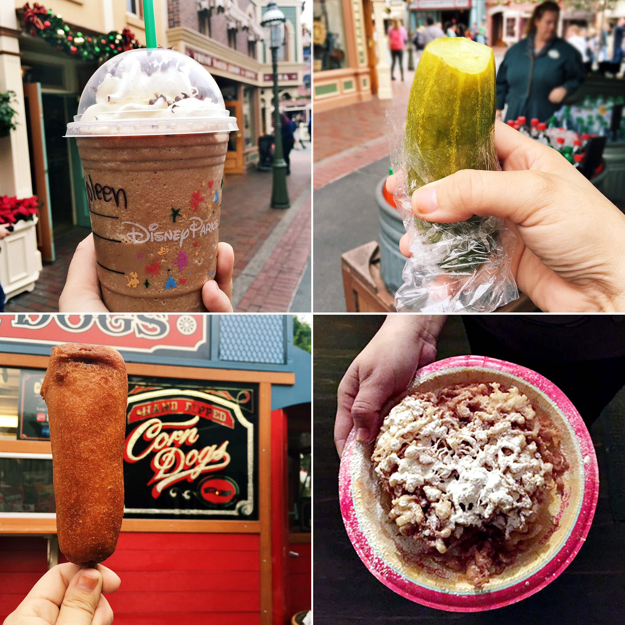 Disney food favorites, a mocha frappacino from Starbucks, a big pickle, a corn dog, and funnel cake.