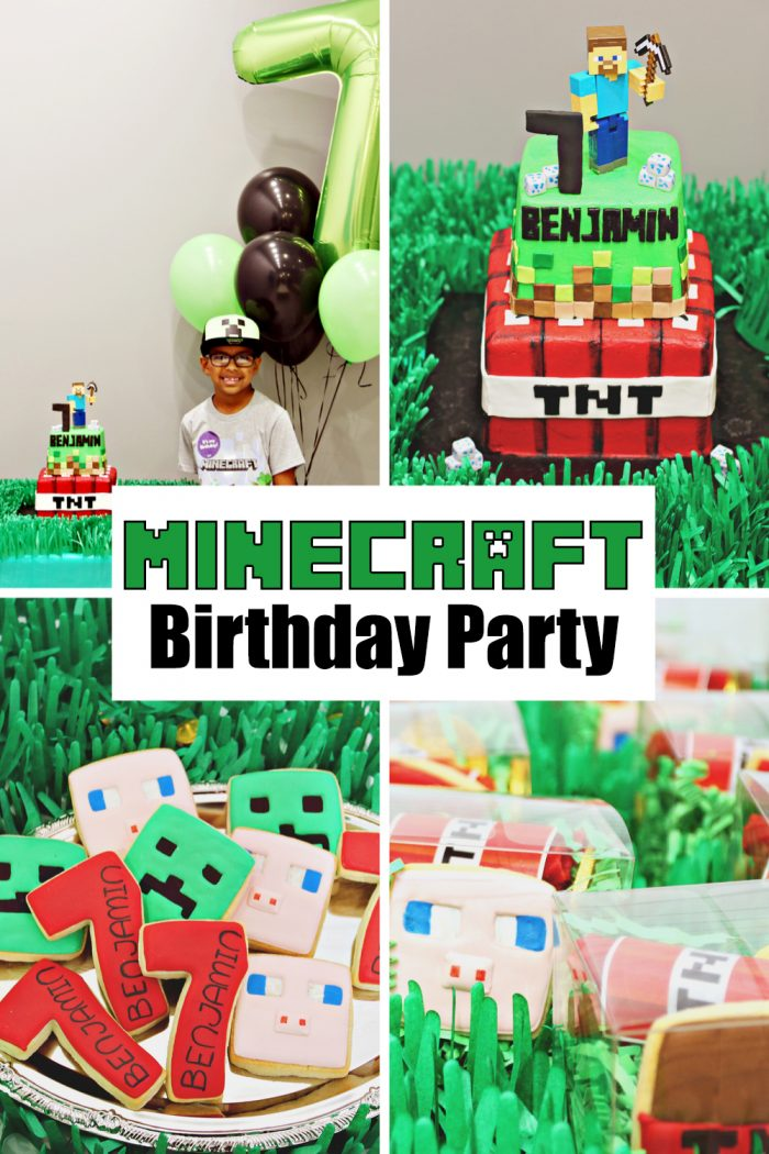 Benjamin's 7th Minecraft Birthday Party Favors, Decor, and Cake