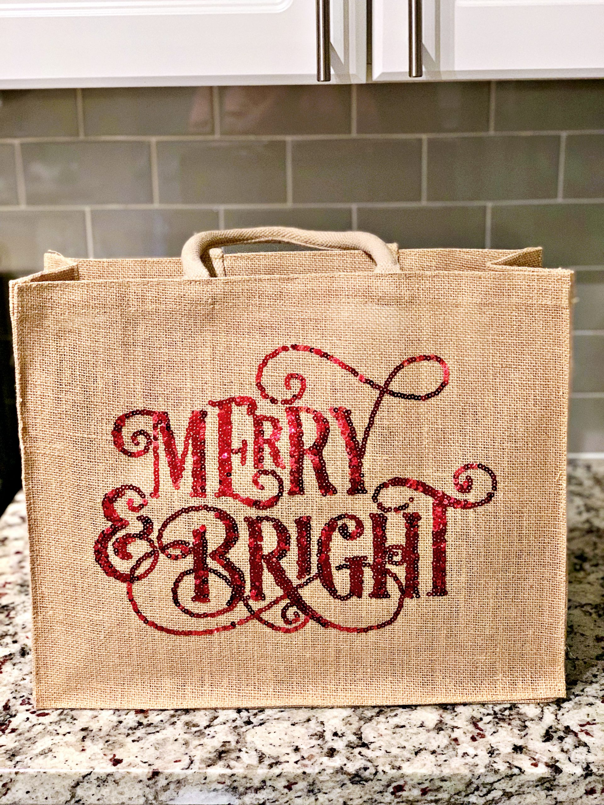 Merry & Bright sequin shopper from Walmart.