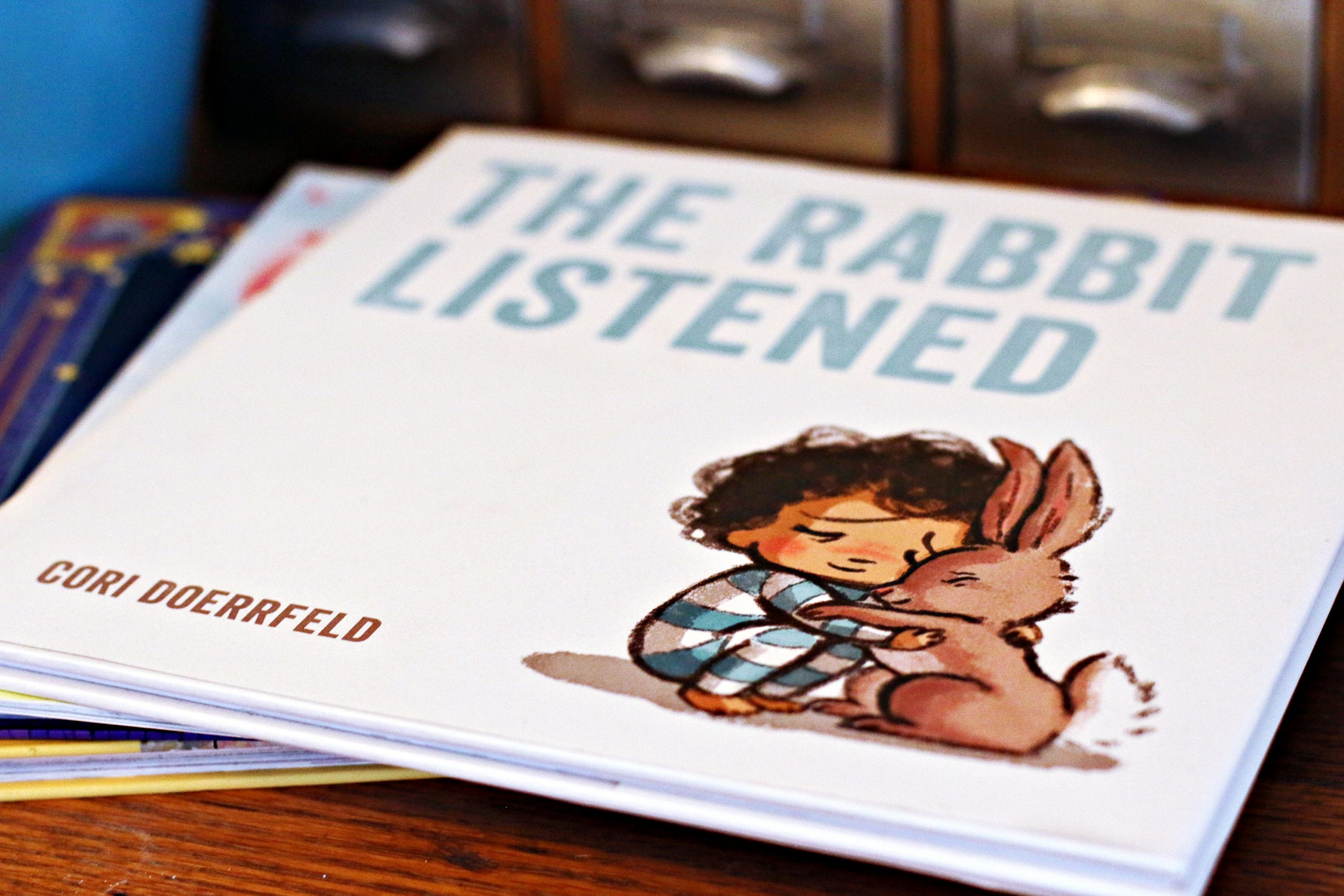 A close-up of the children's book, The Rabbit Listened, by Cori Doerrfeld.