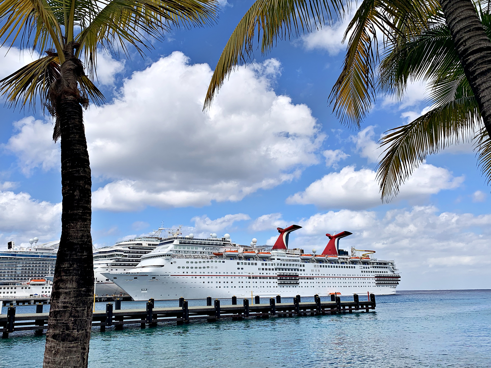 Carnival Paradise cruise ship docked in Cozumel, Mexico.