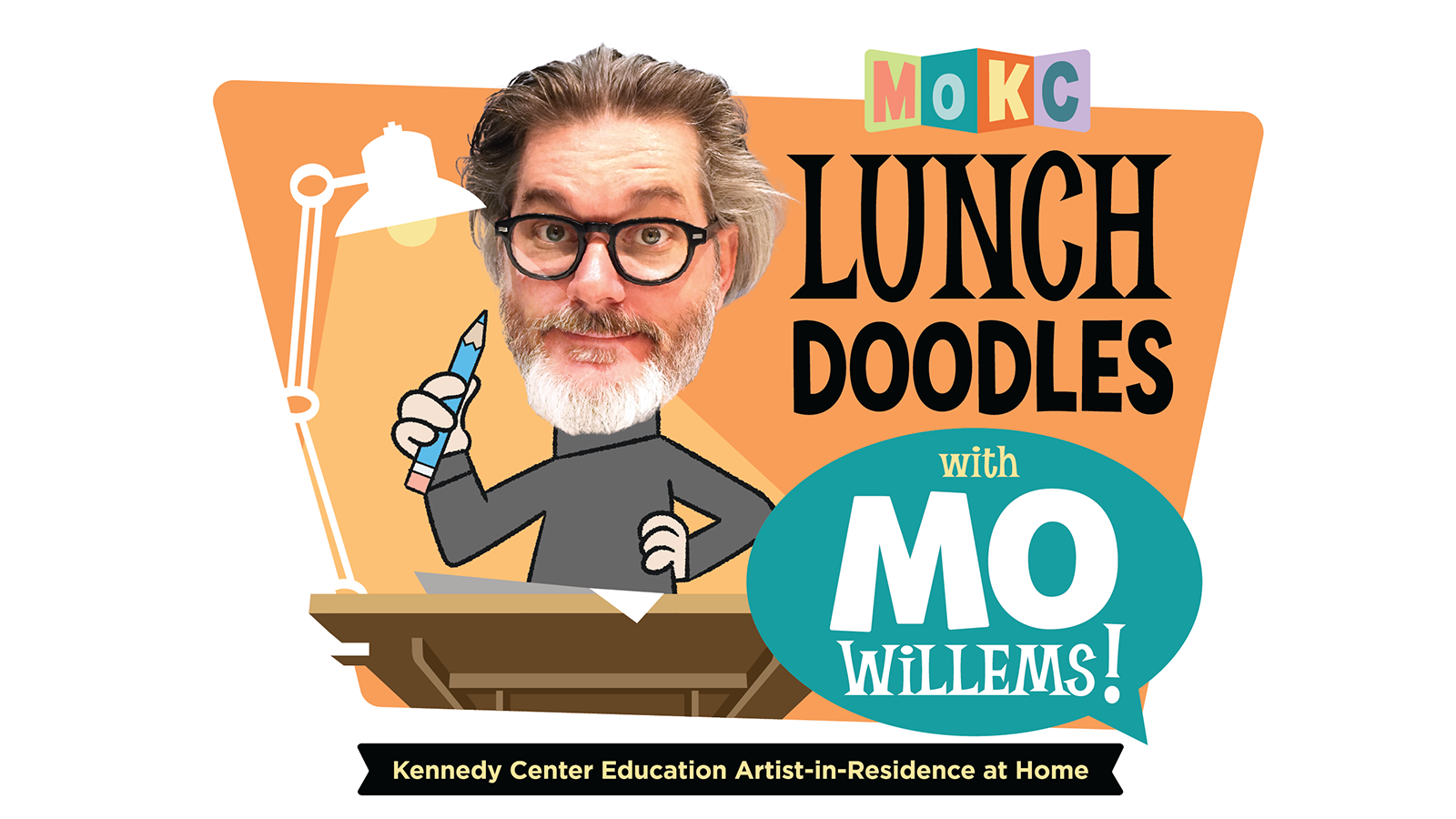 The logo for Lunch Doodles with Mo Willems!