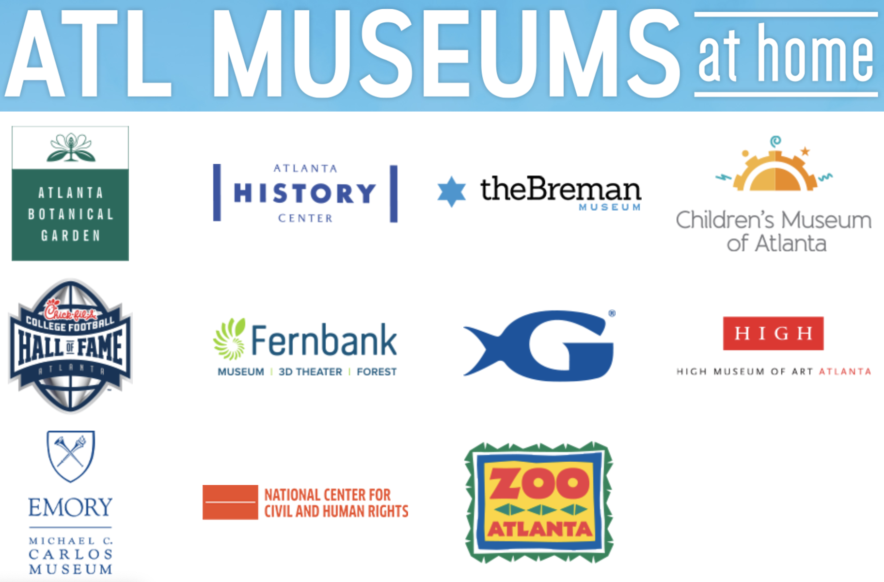Collage of Atlanta museum logos as part of the ATL Museums at Home initiative.