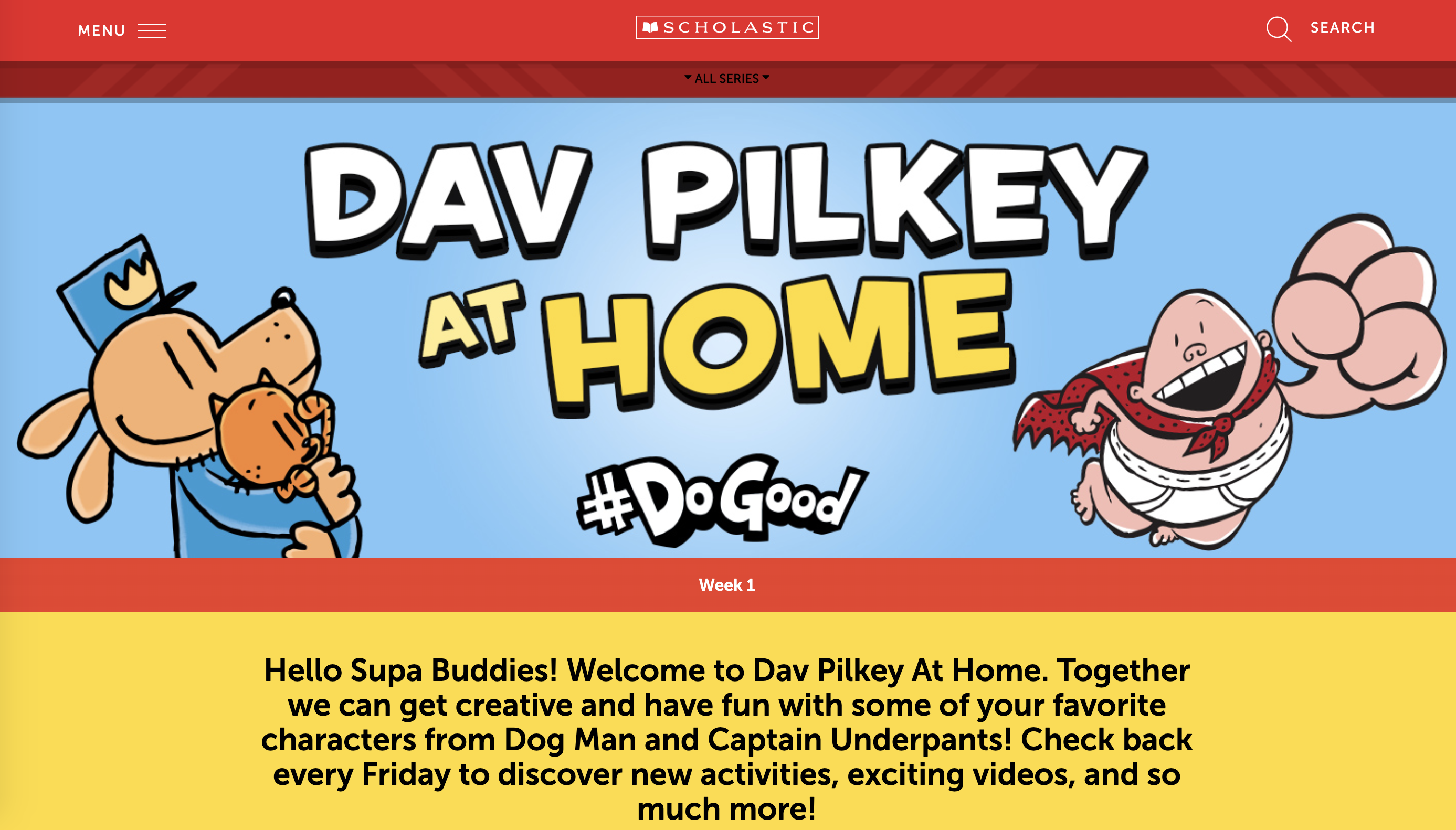 A screenshot of the homepage for Dav Pilkey at Home.