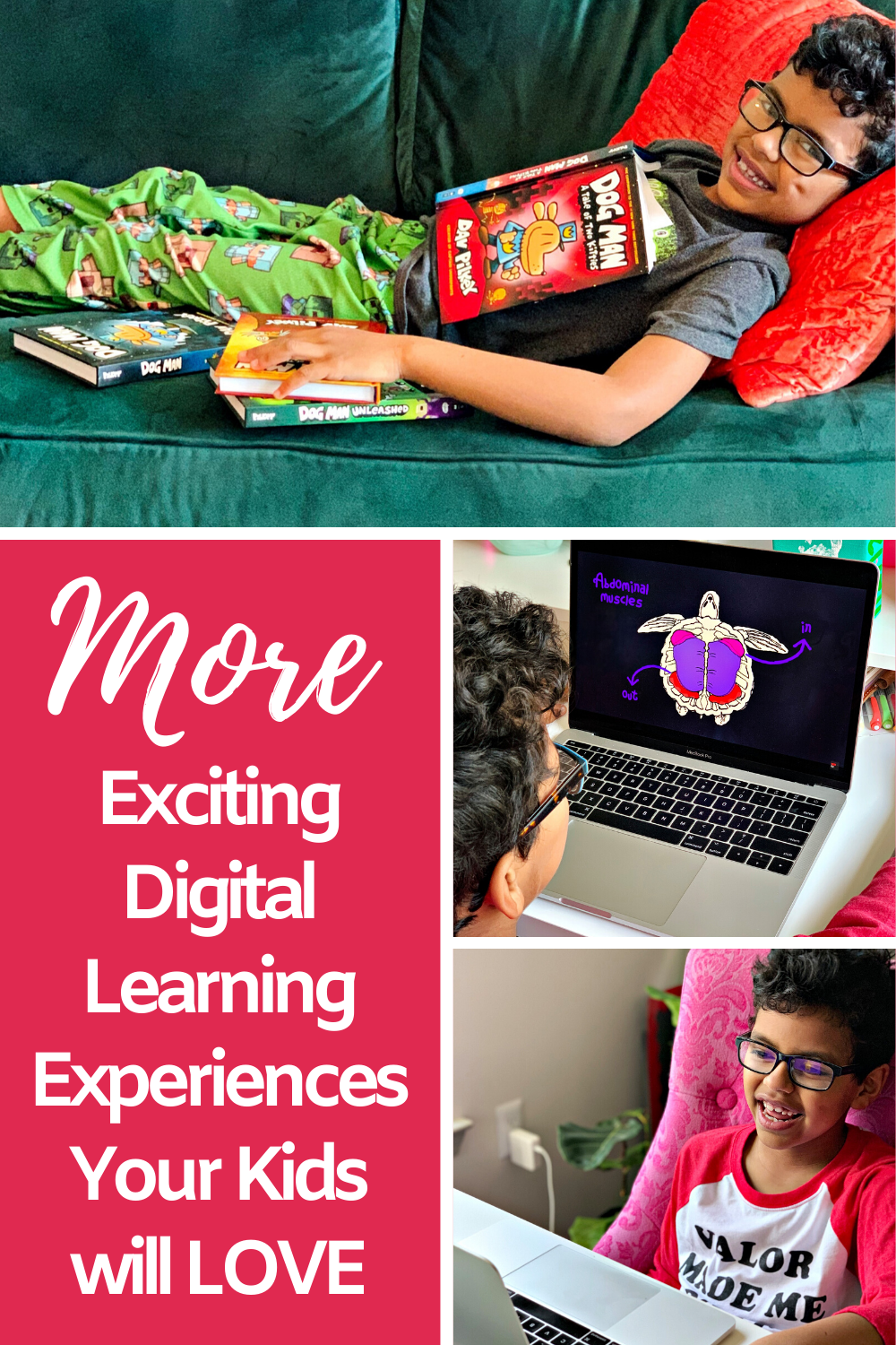 "Collage of images and the words ""More exciting digital learning experiences your kids will love"" for Pinterest."