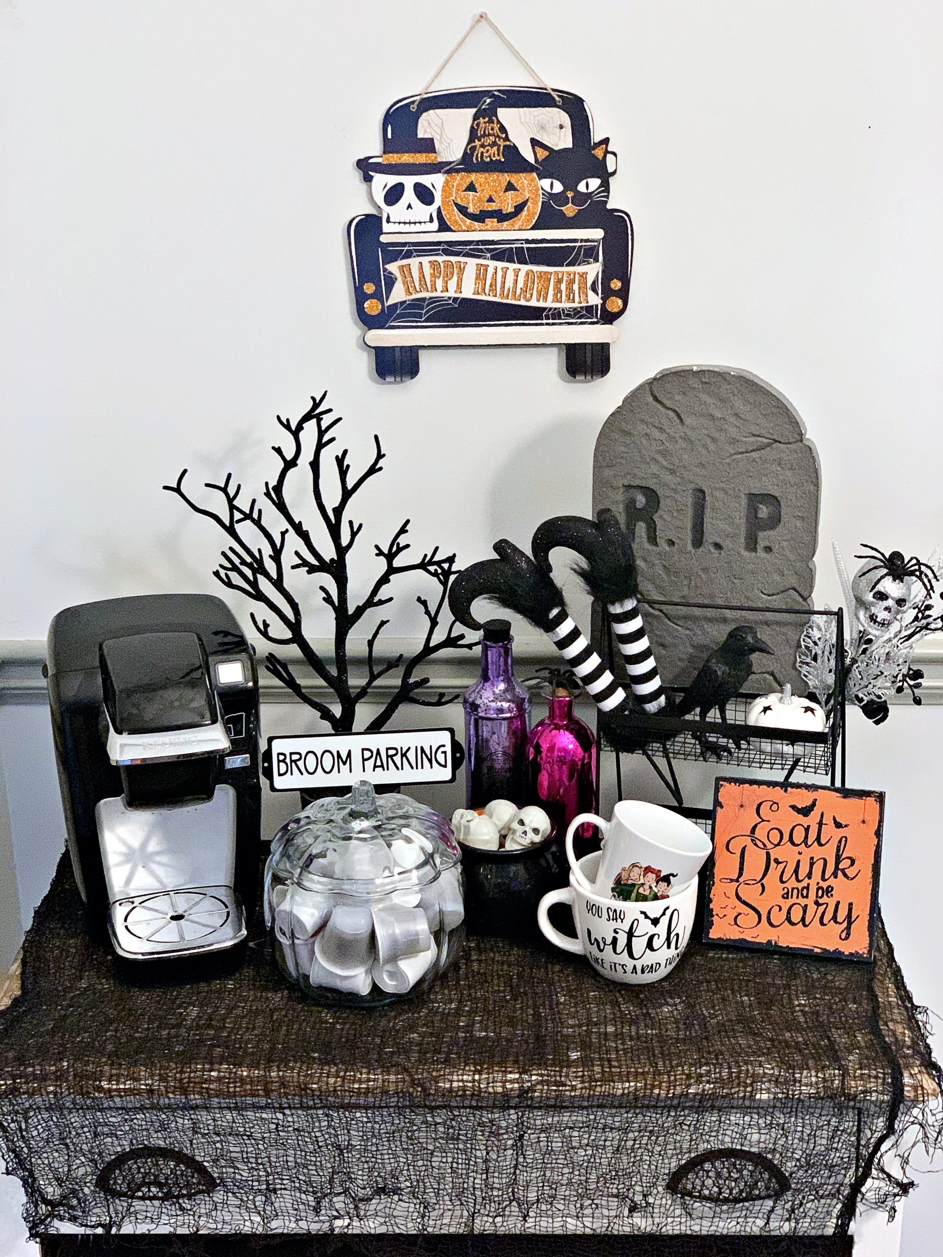 Witchy themed coffee bar decor