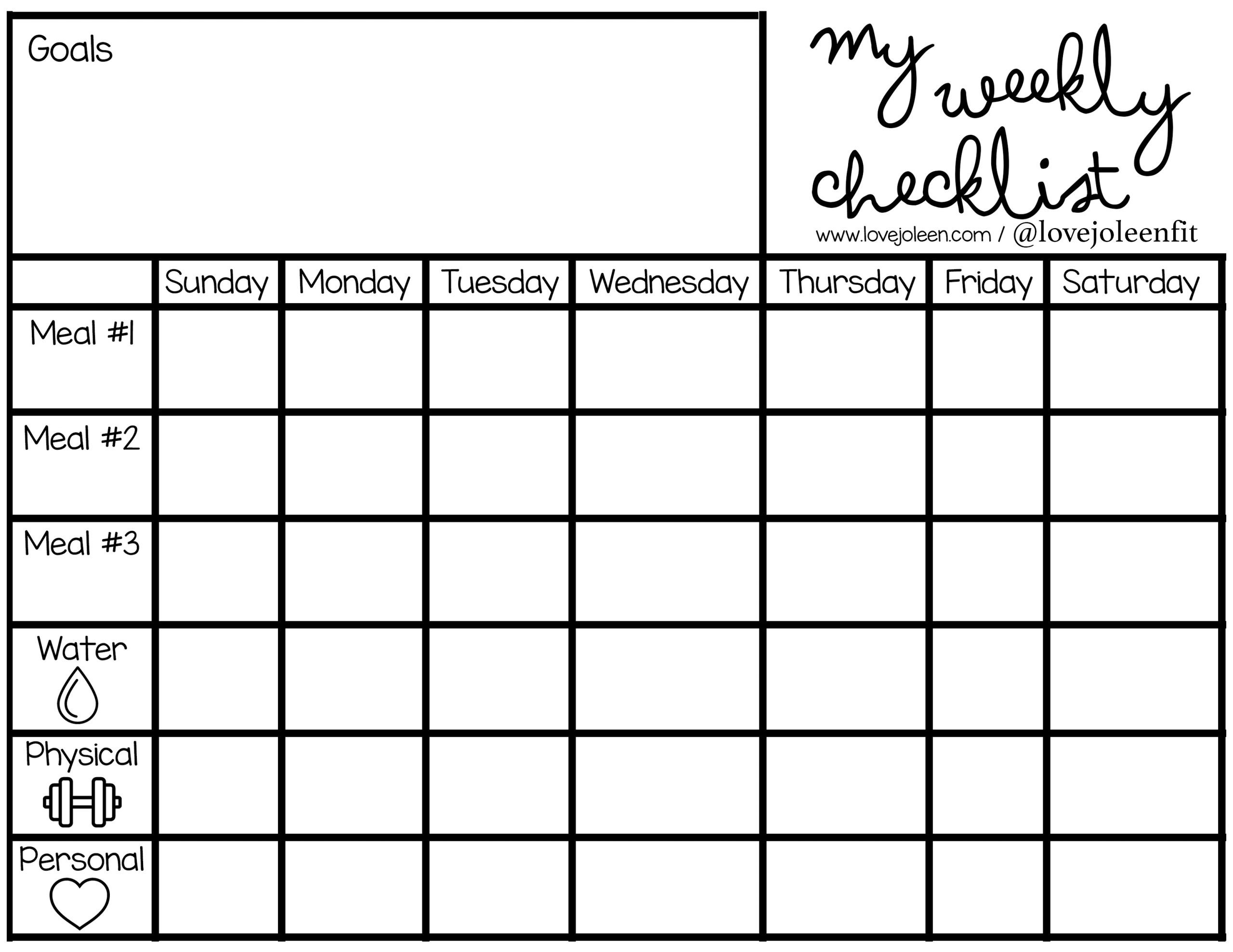 Free download printable that says my weekly checklist and includes a blank planner for tracking goals, meals, water intake, workouts, and more.