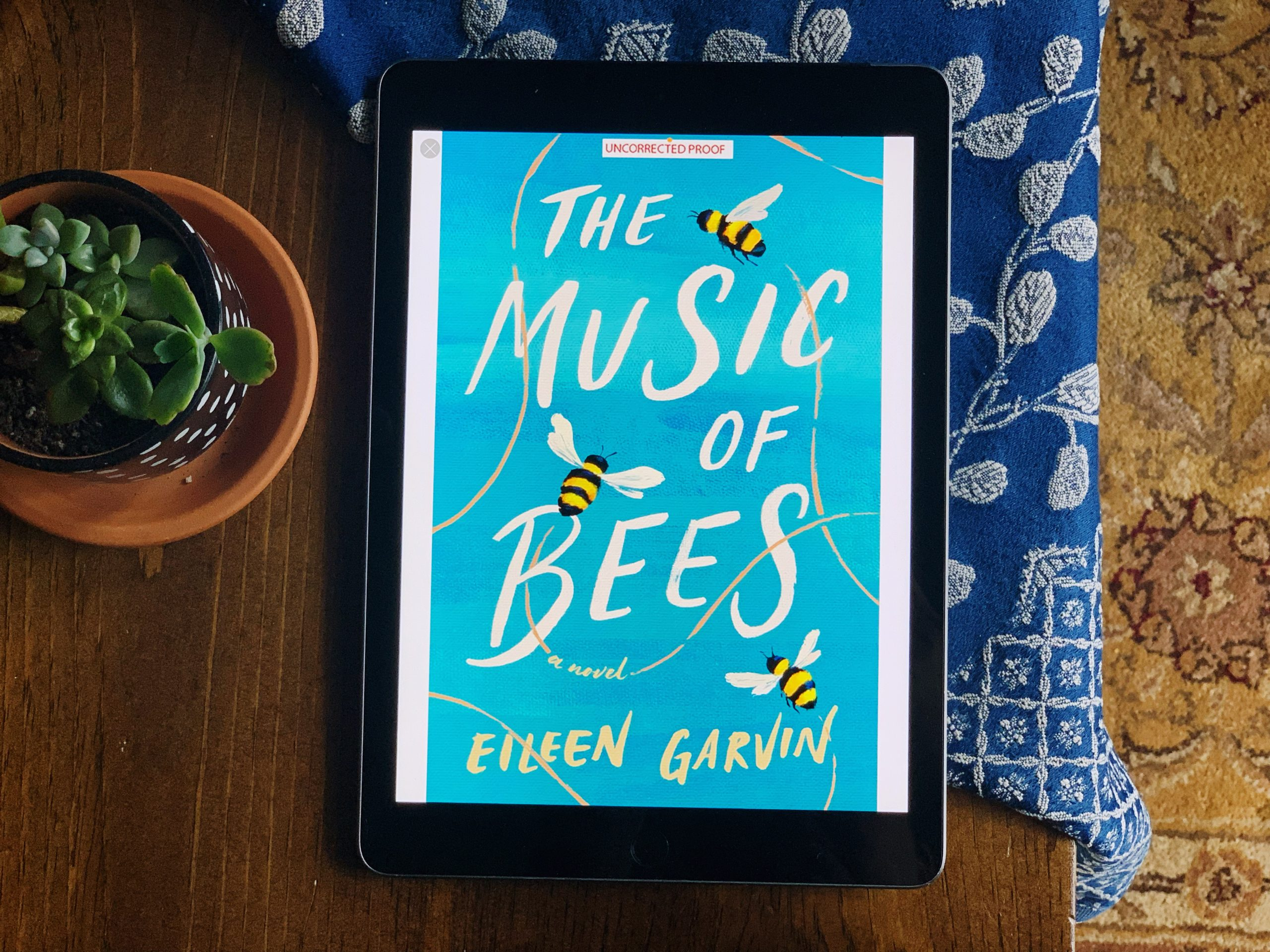 An iPad showing the cover of The Music of Bees - an Advanced Readers Copy (digital) on the Kindle app. The iPad is sitting on a table with a plant next to it.